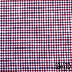 Coton Teint Petit Carreau esprit Nappe Marine Rouge Blanc