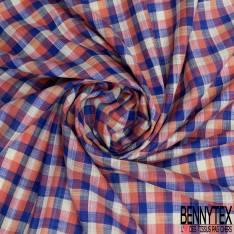 Coton Teint Petit Carreau esprit Nappe Corail Jaune Pastel Bleu Roi