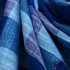 Coton Teint Carreau Moyen esprit Nappe Turquoise Bleu Roi Blanc