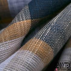 Coupon 3m Coton Teint Carreau Ocre Beige Nuit Blanc
