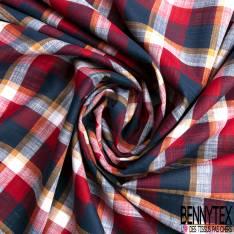 Coupon 3m Coton Teint Carreau Ocre Rouge Nuit Blanc