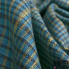 Coupon 3m Coton Teint Carreau Tartan Turquoise Jaune