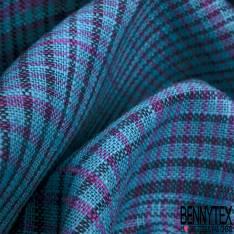 Coupon 3m Coton Teint Carreau Tartan Turquoise Mauve