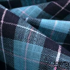 Coupon 3m Coton Teint Carreaux esprit Nappe Marine Turquoise Blanc