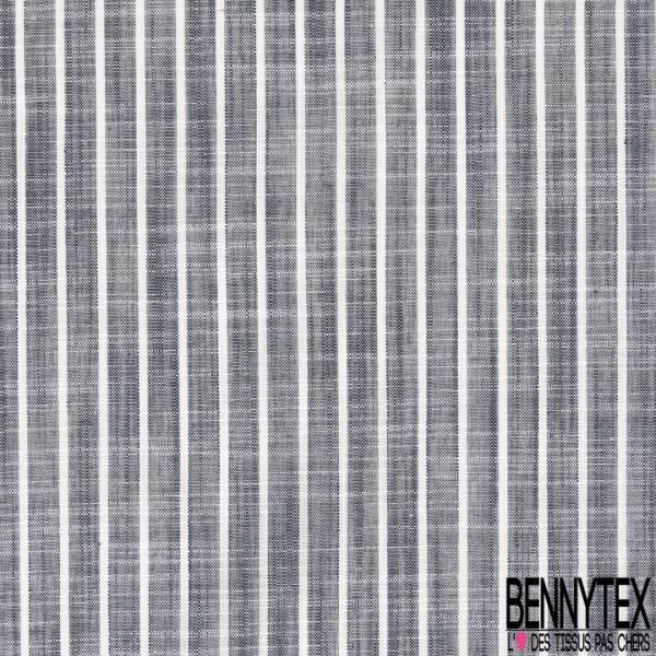 Coupon 3m Coton Teint Imprimé Rayure Verticale Bleu Nuit Blanc