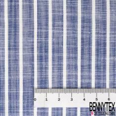 Coupon 3m Coton Teint Imprimé Rayure Verticale Bleu Roi Blanc
