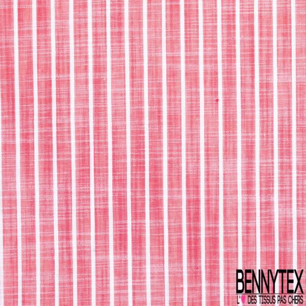 Coupon 3m Coton Teint Imprimé Rayure Verticale Saumon Blanc