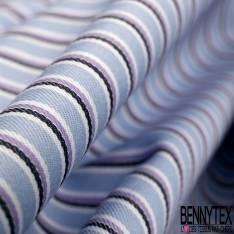 Coupon 3m Coton Imprimé Rayure Fine Verticale Lilas Ciel Noir fond Blanc