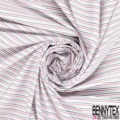 Coupon 3m Coton Imprimé Rayure Fine Verticale Ciel Rouge Noir fond Blanc