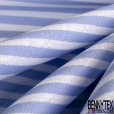 Coupon 3m Coton Imprimé Rayure Ciel Blanc Verticale