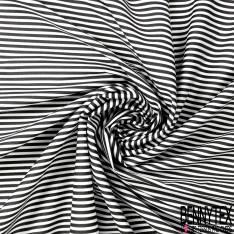 Coupon 3m Coton Imprimé Rayure Noir Blanc Verticale