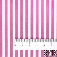 Coupon 3m Coton Imprimé Rayure Framboise Blanc Verticale