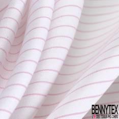 Coupon 3m Coton Imprimé Rayure Fine Rose Blanc Verticale