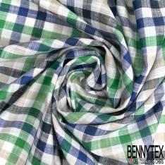 Coupon 3m Coton Teint Petit Carreau Blanc Vert Gris Nuit Bleu Roi