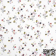 Fibranne Viscose Imprimé Petite Fleur Tricolore fond Blanc Cassé