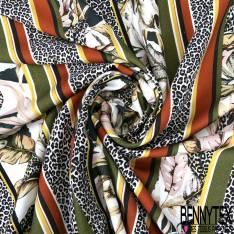 Fibranne Viscose Imprimé Rayure Verticale Léopard feuille et Multicolore