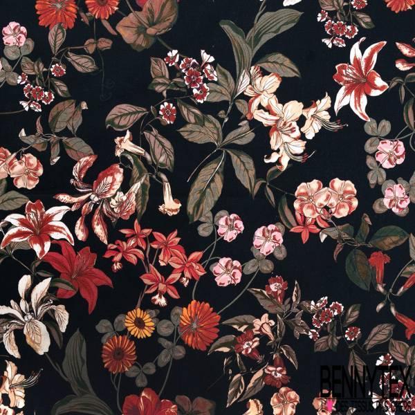 Satin de Coton Elasthanne Motif Grosse Fleur Tropicale Rouge fond Noir