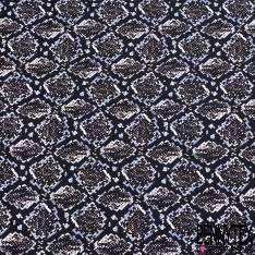 Polyester satiné imprimé Peau de Serpent Losange Noir Blanc