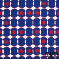 Gabardine Sergé Polyester Ribambelle de Cercle Bleu Roi Point Rouge fond Ecru