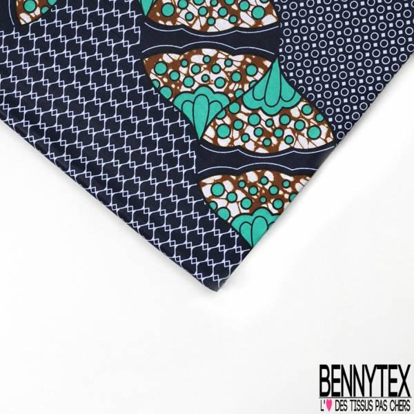 Wax Africain N° 538: Motif Ribambelle Fantaisie fond Motif Cravate Marine Blanc
