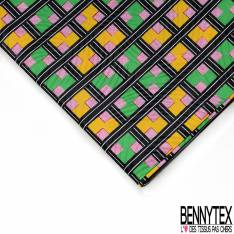 Wax Africain N° 549: Motif Quadrillage Noir Blanc Jaune Vert Rouge