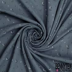 Coton Double Gaze Indigo Motif Petit Triangle Noir