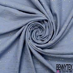 Coupon 3m Coton Double Gaze Ciel Pastille Relief Or