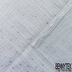 Coupon 3m Coton Double Gaze Perle Pastille Relief Or
