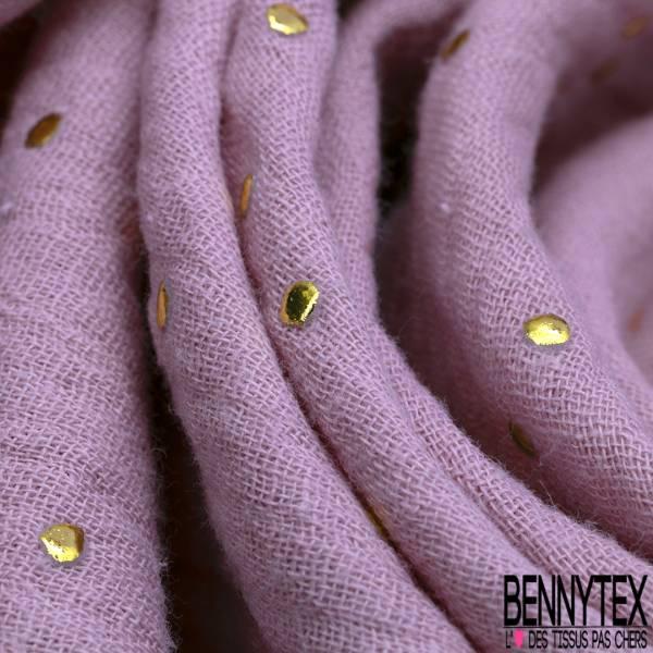 Coupon 3m Coton Double Gaze Parme Pastille Relief Or