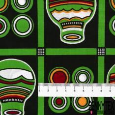 Wax Africain N° 562: Motif Jarre Verte dans Quadrillage Fantaisie Noir