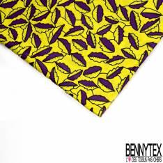 Wax Africain N° 564: Motif Petite Feuille d'Automne Violette Jaune fond Jaune
