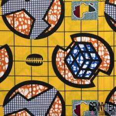 Wax Africain N° 567: Motif Nappe Jaune carré Eclair Afrique