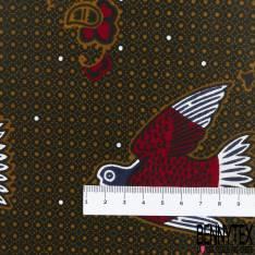 Wax Africain N° 561: Motif Petit Pigeon Rouge fond Motif Cravate Ocre