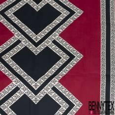 Wax Africain N° 575: Motif Grand Carré Noir Bordure Dentelle fond Lie de Vin