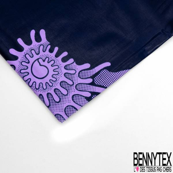 Wax Africain N° 590: Motif Grande Tâche Lilas fond Bleu Nuit