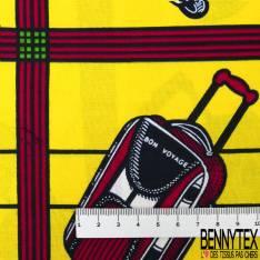 Wax Africain N° 594: Motif Valise de Voyage fond Quadrillage Multicolore