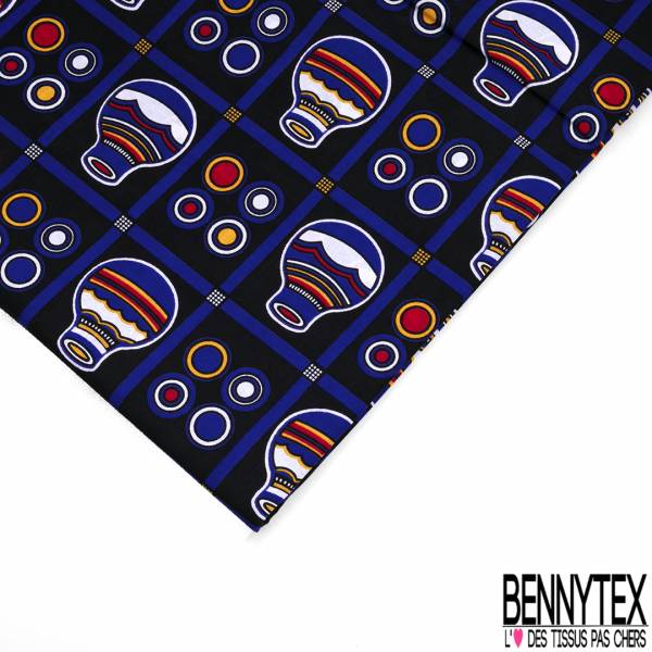 Wax Africain N° 596: Motif Amphore Fantaisie fond Quadrillage Noir Bleu Roi