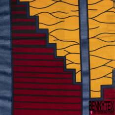 Wax Africain N° 599: Motif Géométrique Orange Rouge Marine