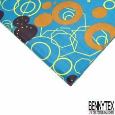 Wax Africain N° 586: Motif Boulon Stylisé Jaune fond Pétrole
