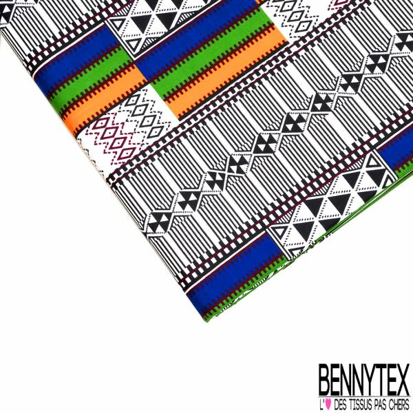 Wax Africain N° 578: Motif Amérindien Black and White Bande Multicolore