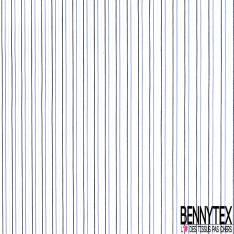 Coupon 3m Coton Imprimé Rayure Fine Verticale Bleu Roi Ciel Noir fond Blanc