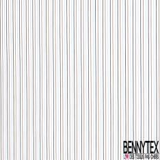 Coupon 3m Coton Imprimé Rayure Fine Verticale Café Ciel Noir fond Blanc
