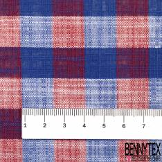 Coupon 3m Coton Teint Carreau Moyen esprit Nappe Bleu Roi Vert Blanc