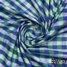 Coupon 3m Coton Teint Carreau Moyen esprit Nappe Bleu Roi Rouge Blanc