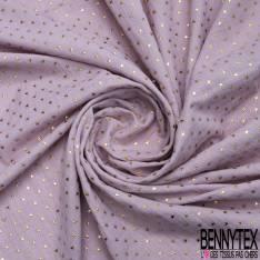 Coupon 3m Coton Double Gaze Parme Etoile Relief Or