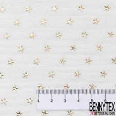 Coupon 3m Coton Double Gaze Blanc Optique Etoile Relief Or