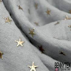 Coupon 3m Coton Double Gaze Perle Etoile Relief Or