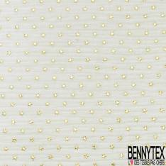 Coupon 3m Coton Double Gaze Blanc Cassé Etoile Relief Or