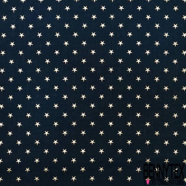 Coupon 3m Coton Double Gaze Bleu Nuit Etoile Relief Or