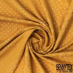 Coupon 3m Coton Double Gaze Moutarde Etoile Relief Or